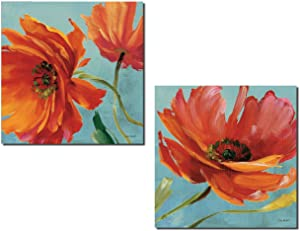 Gorgeous Red and Orange Blooming Poppy Flowers by Lisa Audit; Floral Decor; Two 12x12in Poster Print