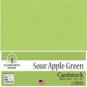 Sour Apple Green Cardstock - 12 x 12 inch - 65Lb Cover - 50 Sheets - Clear Path Paper