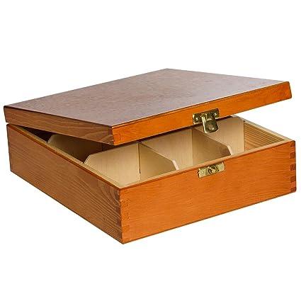 Aliso Caja para Té Bolsita Madera | 9 Compartimentos | 23,5 ...