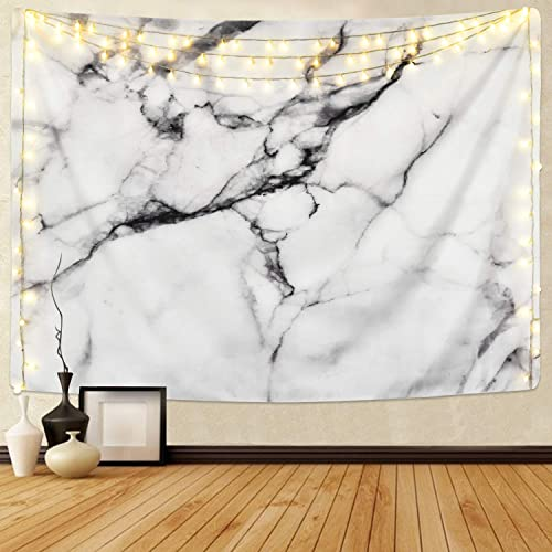 Sunm boutique Black and White Tapestry Marble Tapestry Wall Hanging Indian Dorm Decor for Living Room Bedroom Marble, 70.8 x 92.5