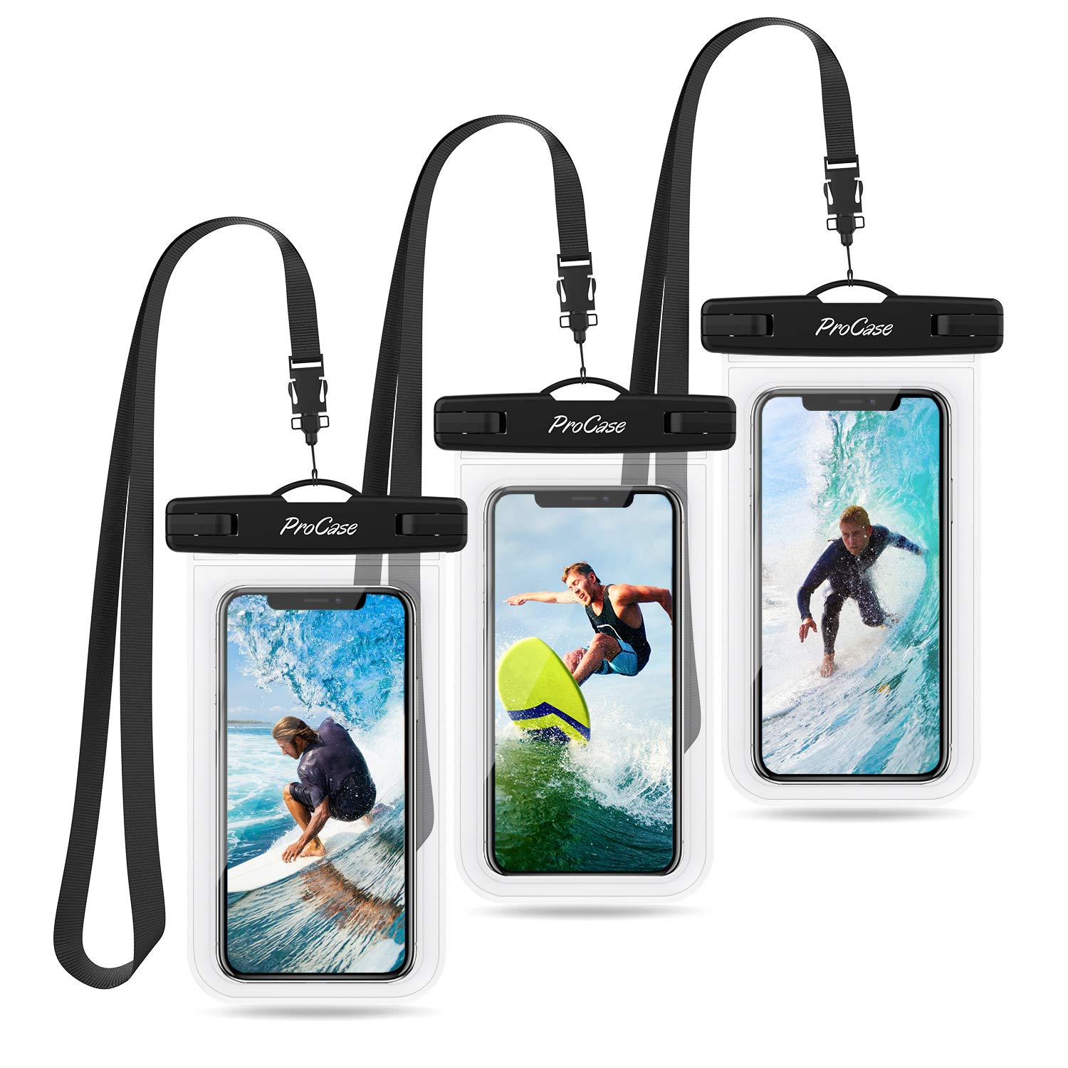 ProCase Universal Waterproof Pouch Cellphone Dry Bag Underwater Case for iPhone Xs Max XR X 8 7 6S Plus, Galaxy S10 Plus S9 S8 +/Note 9 8, Pixel 3 2 XL up to 6.5'' - 3 Pack, Clear by ProCase