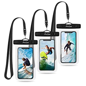 """ProCase Universal Waterproof Pouch Cellphone Dry Bag Underwater Case for iPhone Xs Max XR X 8 7 6S Plus, Galaxy S10 Plus S9 S8 +/Note 9 8, Pixel 3 2 XL up to 6.5"""" - 3 Pack, Clear"""
