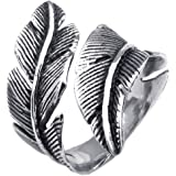 KONOV Mens Womens Stainless Steel Ring, Vintage Feather, Black