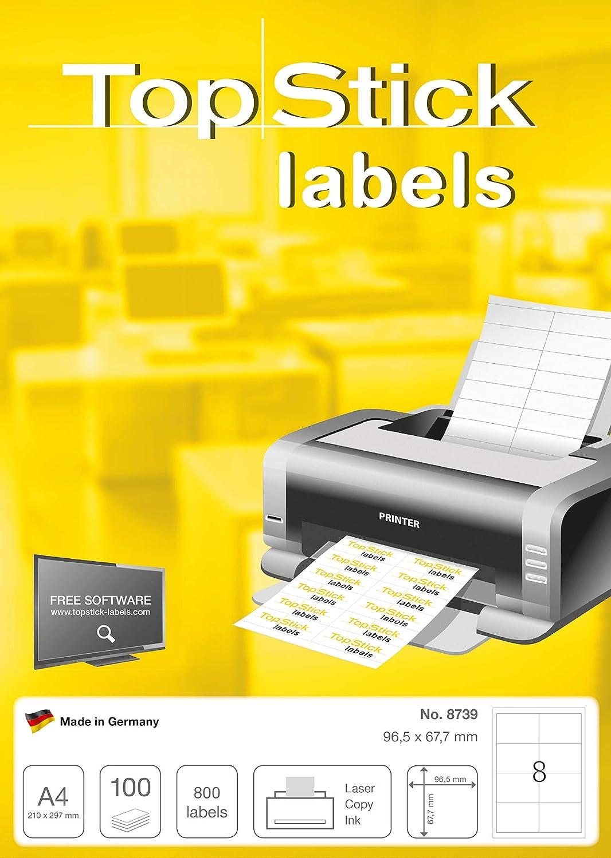 Etichette Adesive A4 per Stampante Bianco 96,5 x 67,7 mm TopStick Etichette Universali 8 Etichette per Foglio