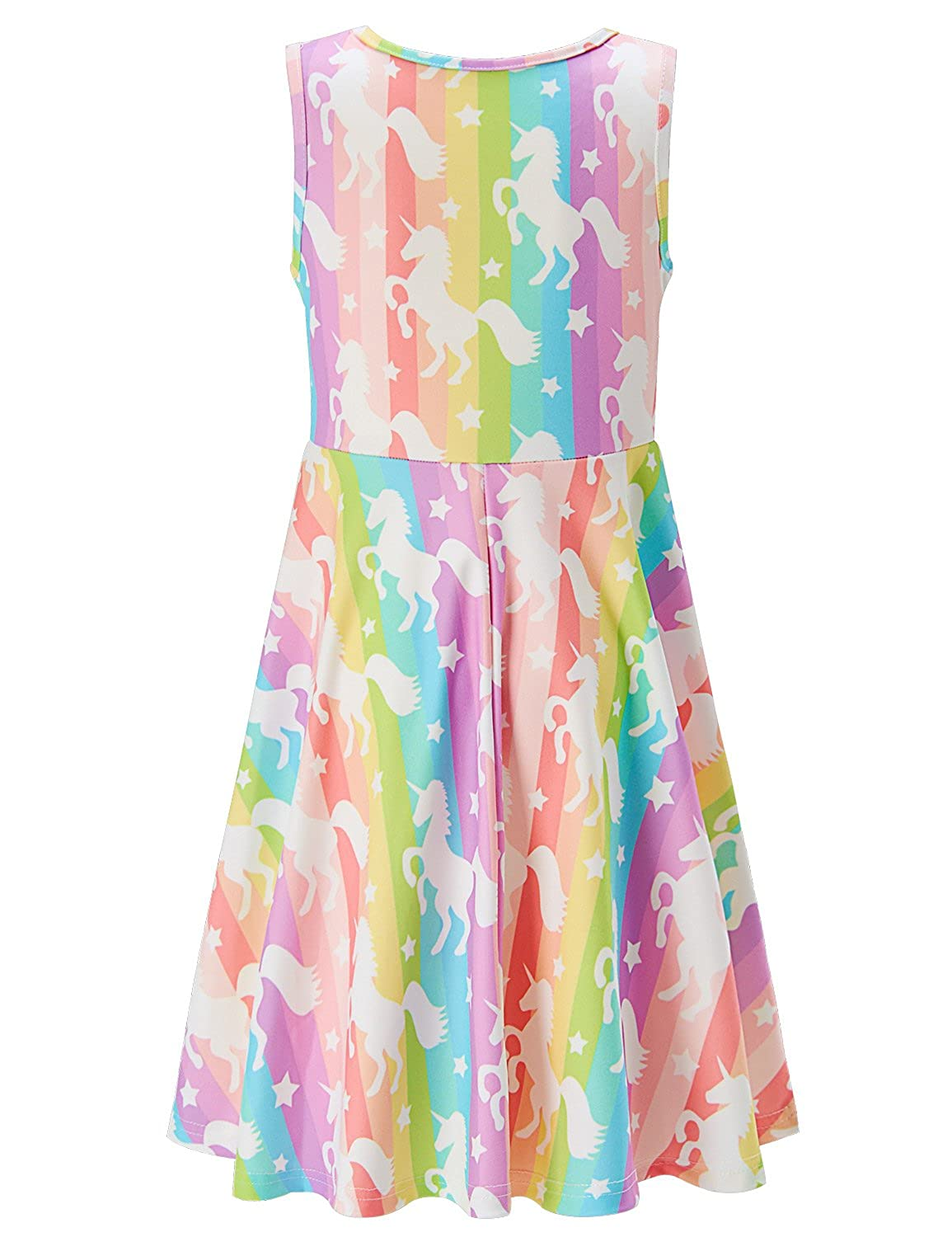 2cbc0d581ee Amazon.com  Funnycokid Girls Sleeveless Casual Dress Kids Holiday Party  Printing Dresses 4-13 Years  Clothing