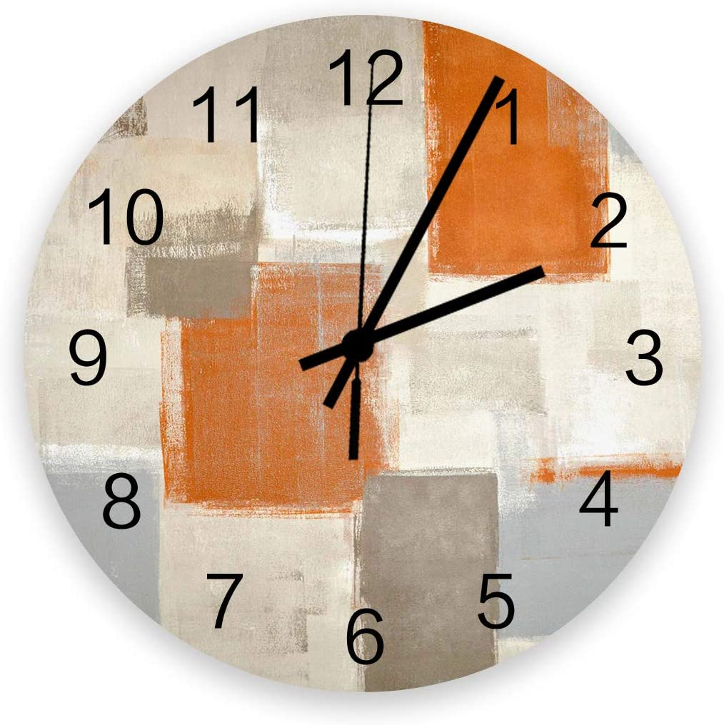 12 Inch Silent Round Wooden Wall Clock Orange Brown Gray Paint Art Graffiti Wall Clock, Non Ticking Battery Operated Quartz Home Decor Wall Clocks for Living Room/Kitchen/Office