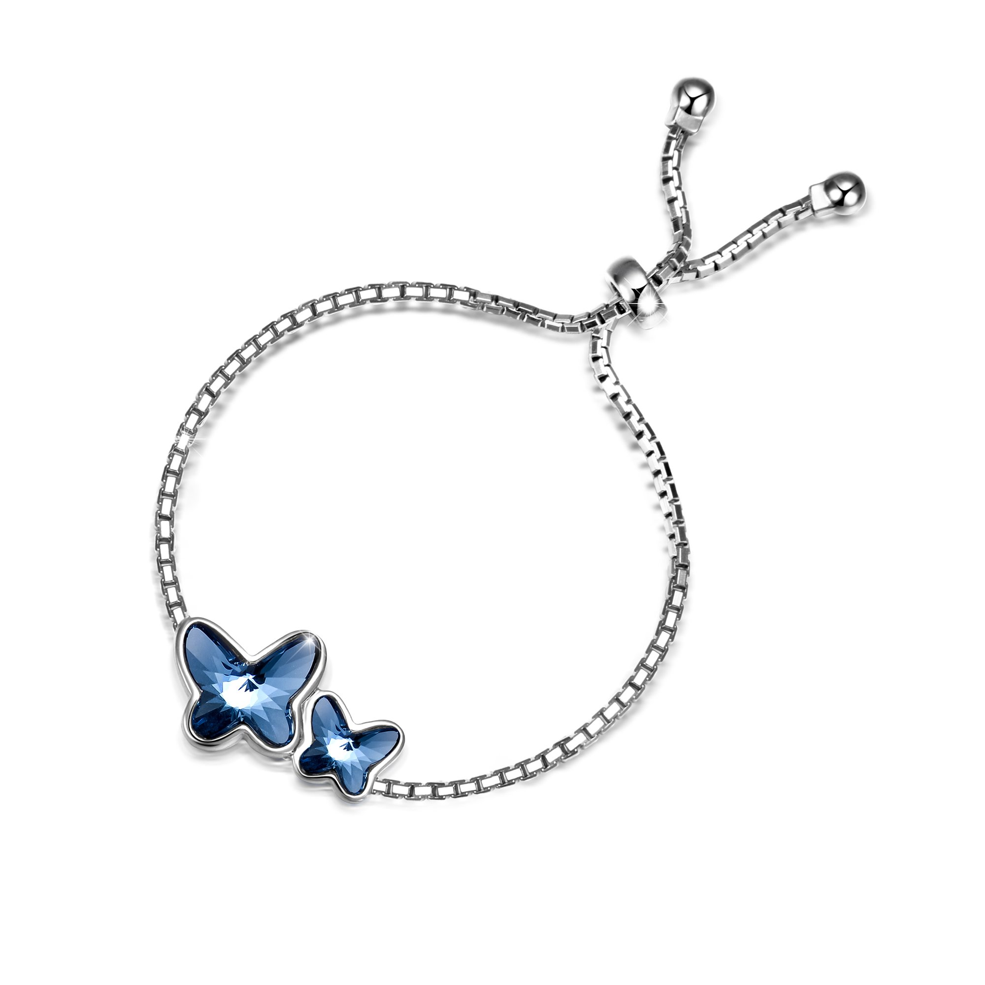 T400 Dream Chasers 925 Sterling Silver Butterfly Bangle Bracelet Made with Swarovski Crystals, 8.7'' Adjustable Love Gift