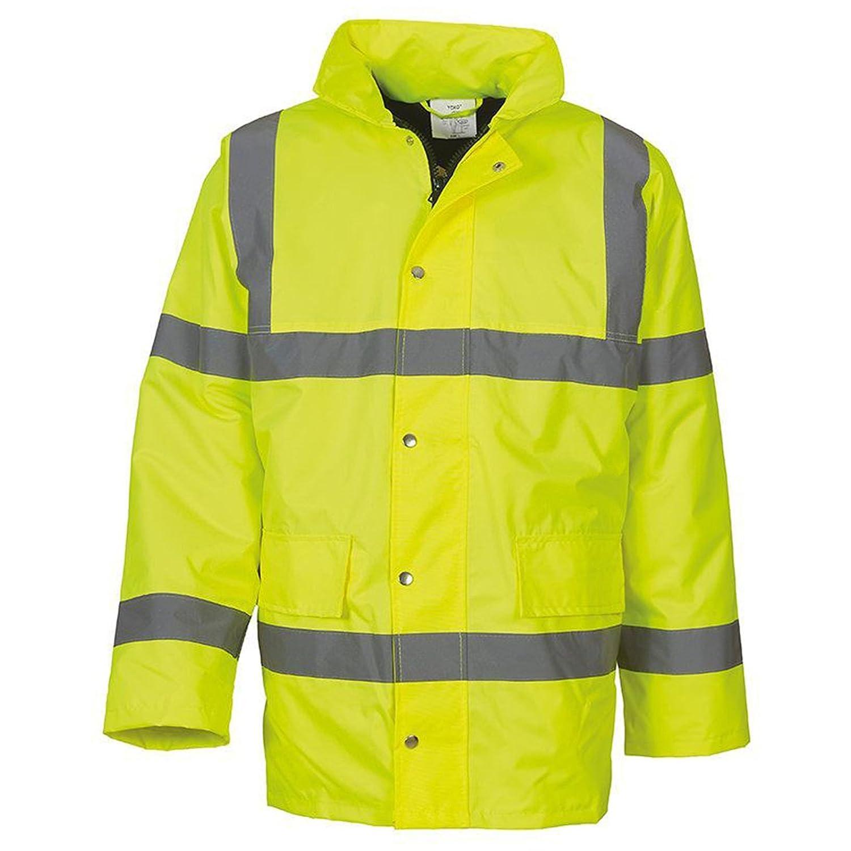 Waterproof Yoko Mens Hi-vis Classic Motorway Jacket HVP300 Windproof and Warm Padding