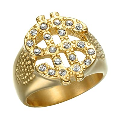 7f0de8ab17f BOBIJOO Jewelry - Bague Chevalière Signe Dollar US   Doré Or Fin Acier  Inoxydable Strass Bling  Amazon.fr  Bijoux