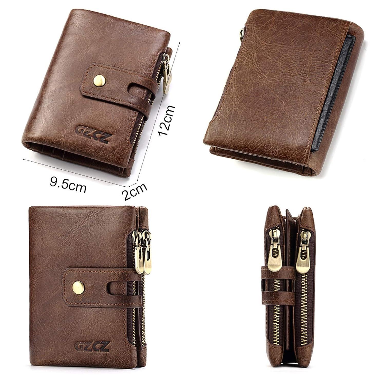 Adisaer-Leather Wallets for Men RFID Blocking Coin Purse Bifold Wallet Credit Card Holder
