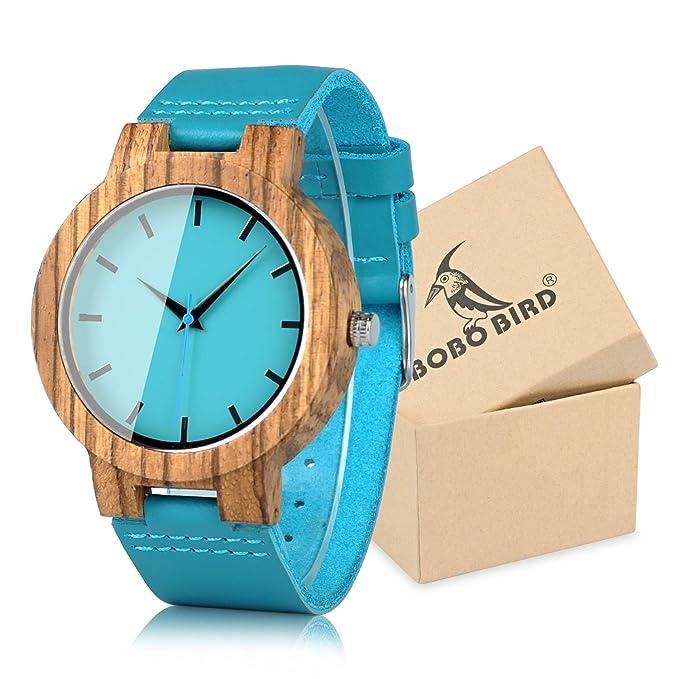 Reloj con Correa de Piel de Vaca Azul