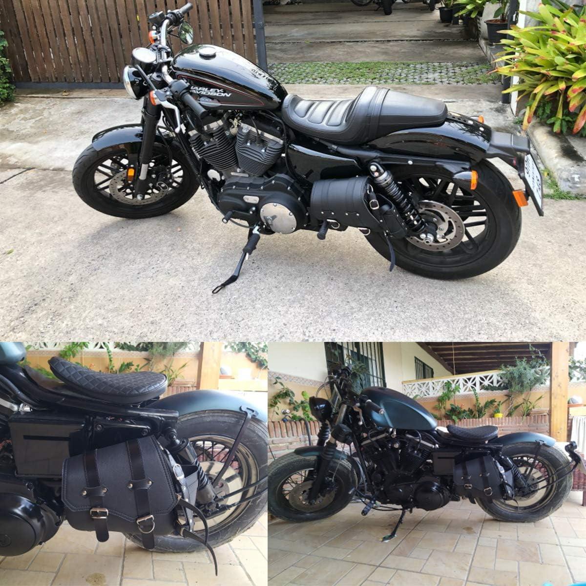 Sacoche de Selle de Moto Universelle en Cuir Synth/étique Pour Harely Honda Suzuki Kawasaki Yamaha C/ôt/é gauche