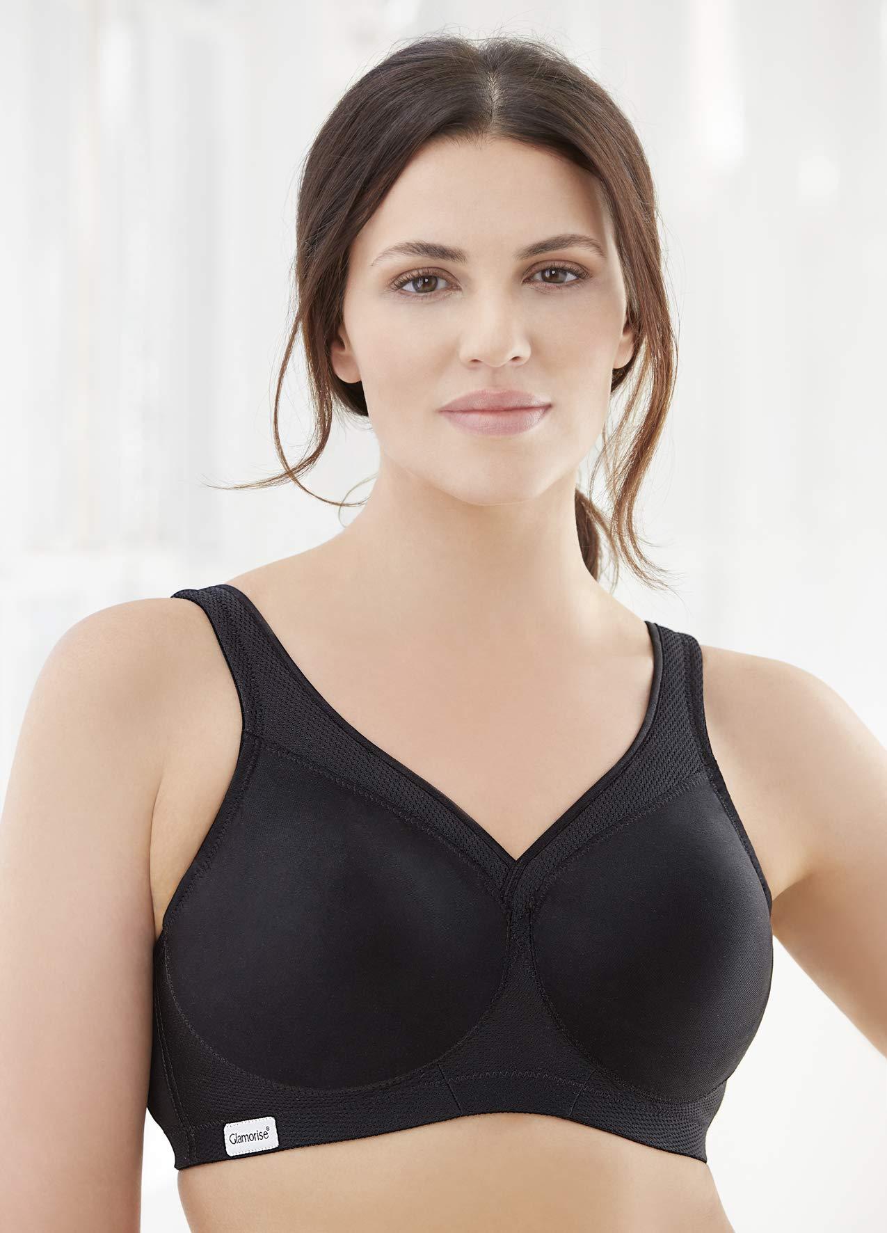 Glamorise Women's Plus Size Full Figure MagicLift Seamless Wirefree Sports Bra #1006, black, 34B by Glamorise (Image #1)