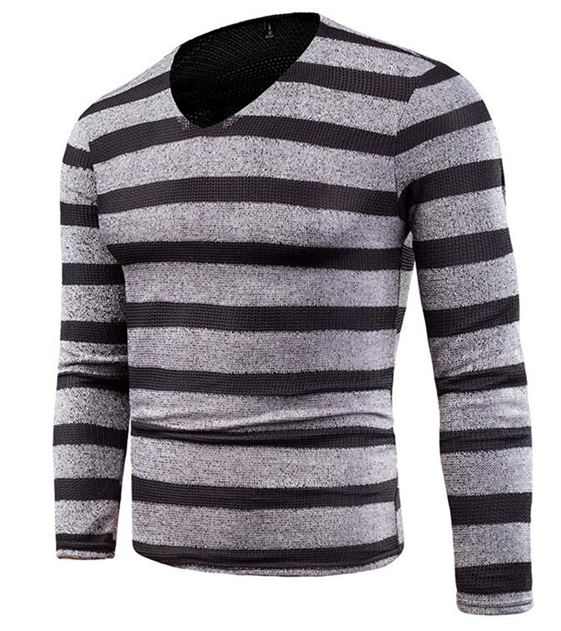 BYWX Men Pullover V Neck Striped Knitted Long Sleeve Casual Top Sweater