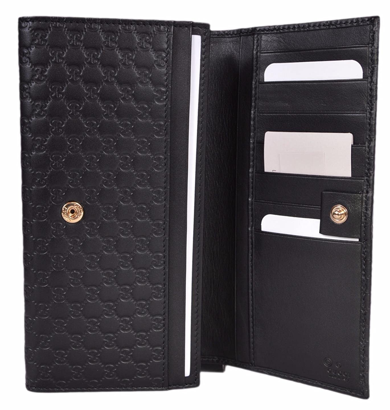 e94a0bbb908 Gucci Women s Leather Micro GG Continental Bifold Wallet (449396 Black) at  Amazon Women s Clothing store