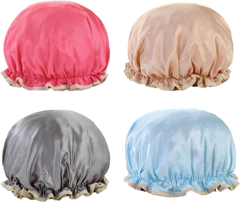 NEPAK 4 Piezas Gorro de ducha de plástico elástico, impermeable-lavables gorros de pelo para para el cuidado del maquillaje, para mujeres y niñas