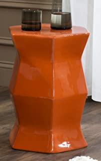 Safavieh Castle Gardenu0027s Collection Glazed Ceramic Orange Modern Hexagon Garden Stool & Amazon.com : Asian Traditional Orange Ceramic Garden Stool with ... islam-shia.org