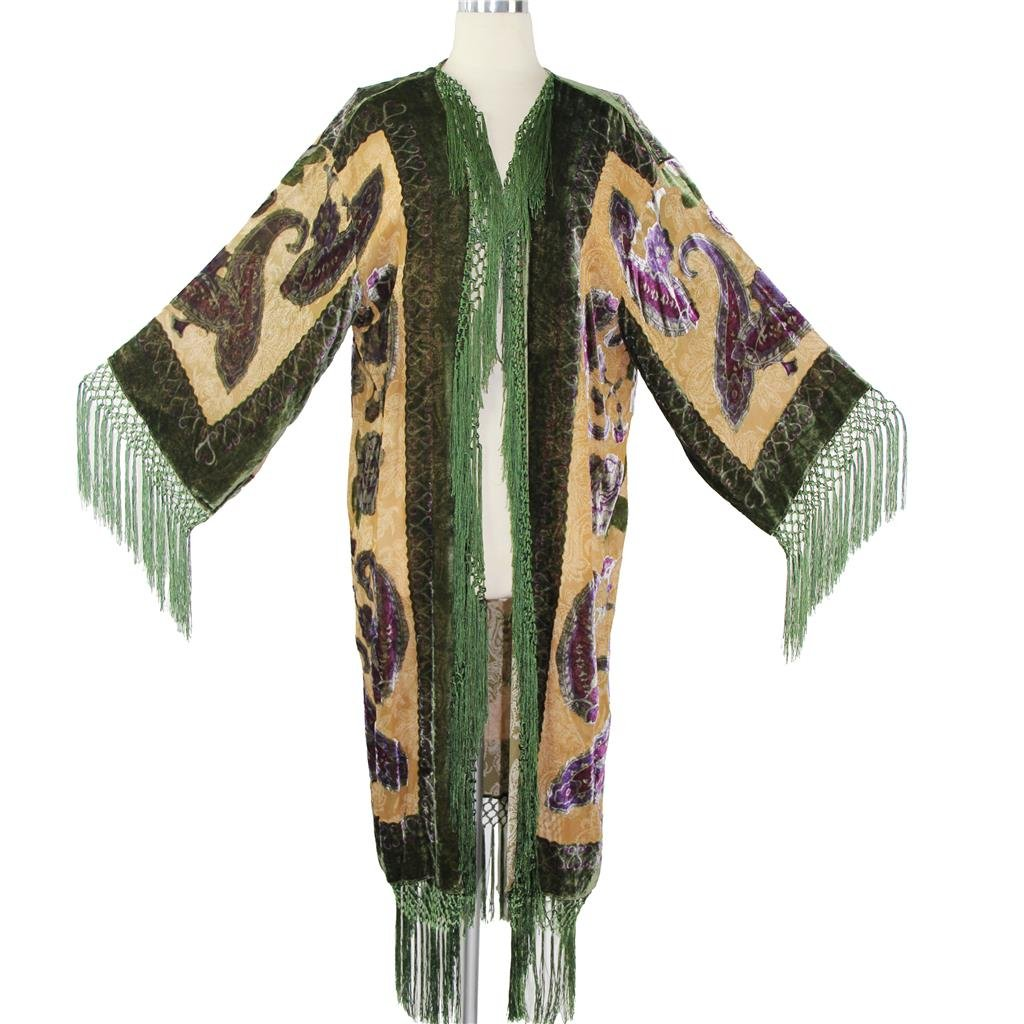 Aris A Women 100% Silk Velvet Burnout Paisley Print Kimono VJ373-L BRCHILD