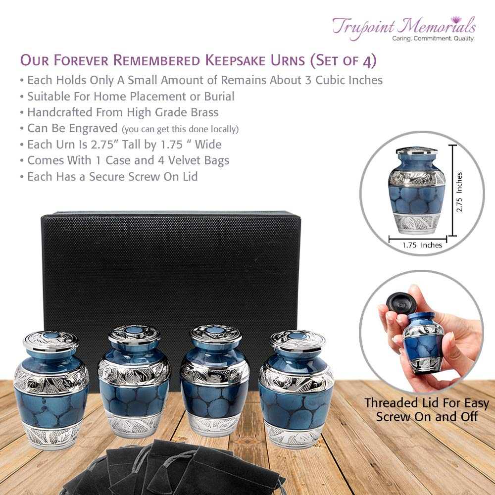 Wings of Love Small Keepsake Urns for Human Ashes – Set of 4 – Beautiful and Timeless Find Comfort Everytime You Look at These Mini High Quality Cremation Urns – with Case and 4 Velvet Bags