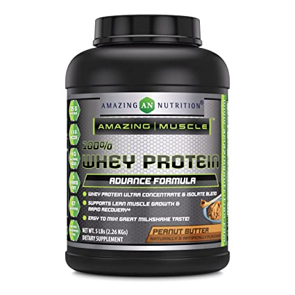 Amazing Muscle 100% Whey Protein Powder - 5 Lbs - Delicious Peanut Butter Flavor.