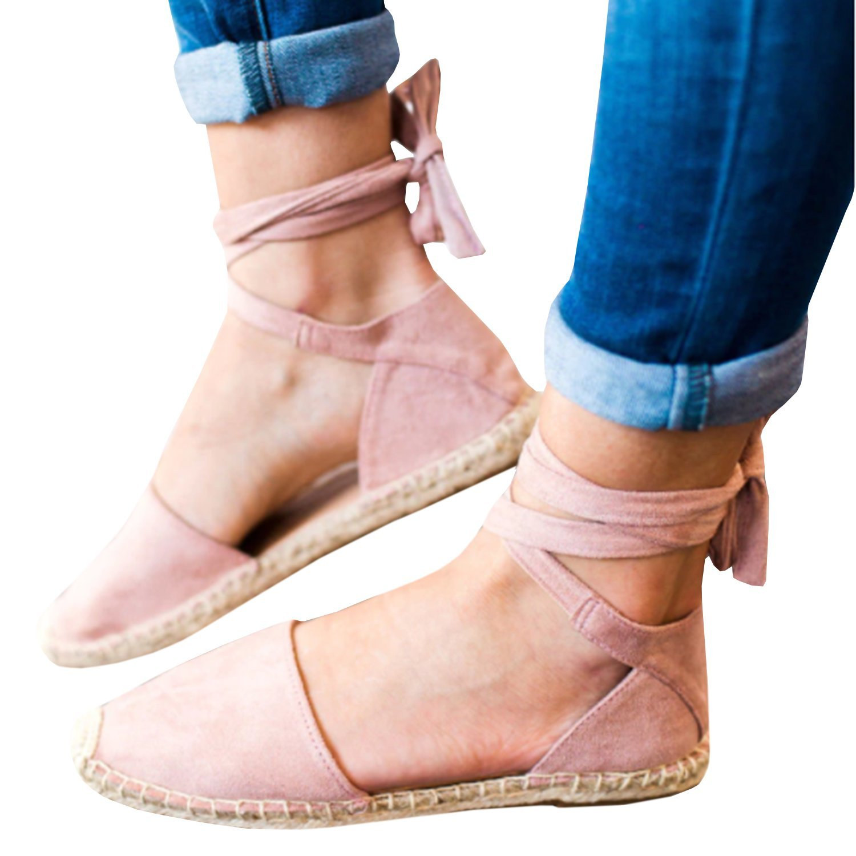 Gemijacka Damen Knouml;chel Schnalle Riemen Espadrilles Ausgeschnitten Binden Niet Klassischen Sommer Flache Sandale Schuhe  40 EU|1-rosa