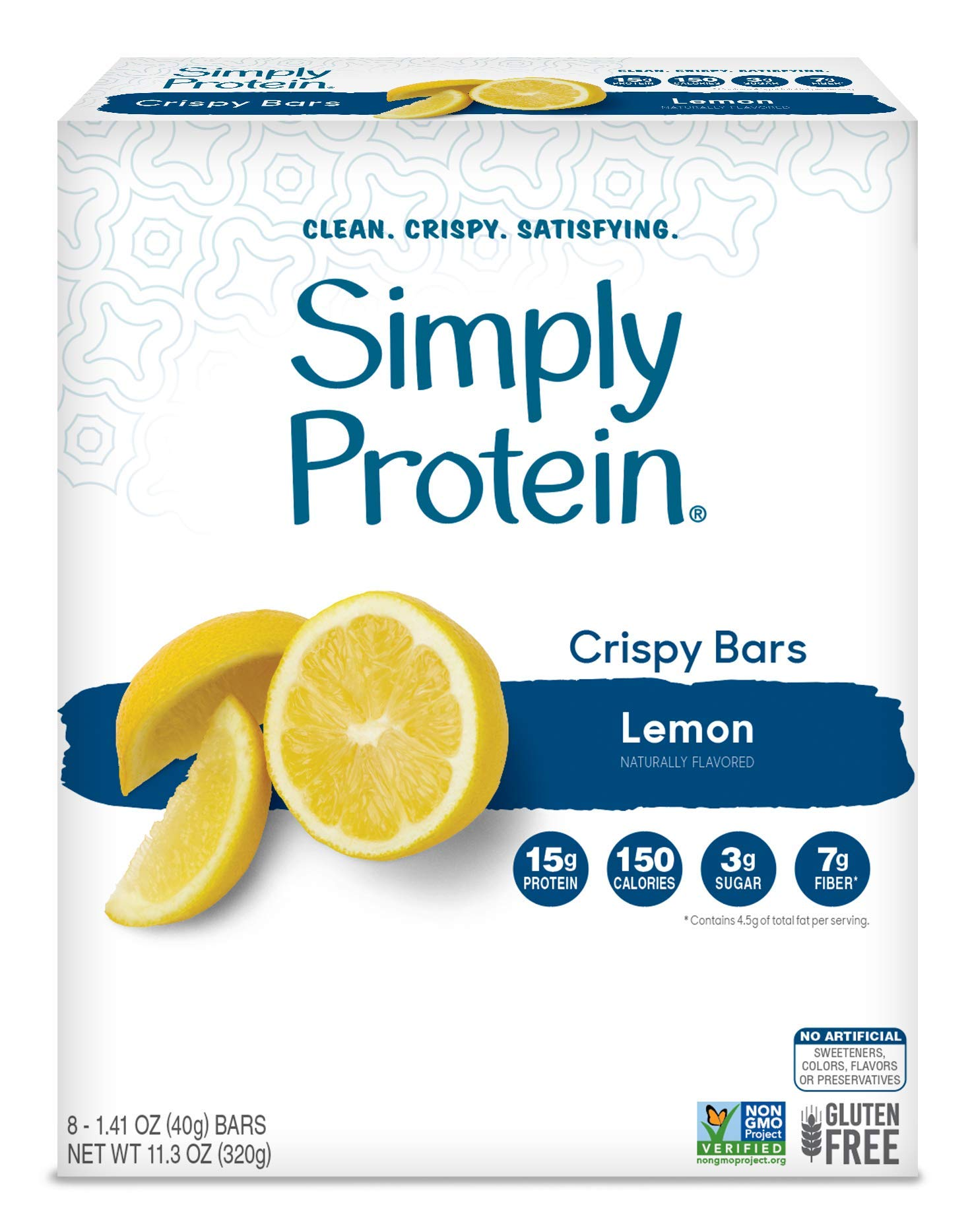 SimplyProtein Crispy Bars. Clean and Light Crispy Bars with Plant Based Protein (Lemon, 8 Pack). by SimplyProtein