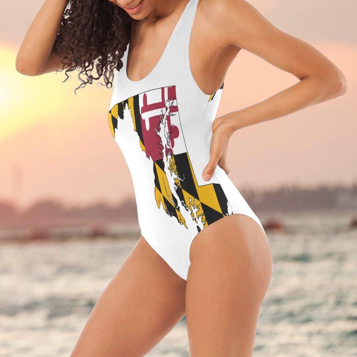 Cyloten Maryland Flag Map Png Swim Beachwear Women Girl Two-Pieces Bikinis Rash Guard for Beach Pool Surf