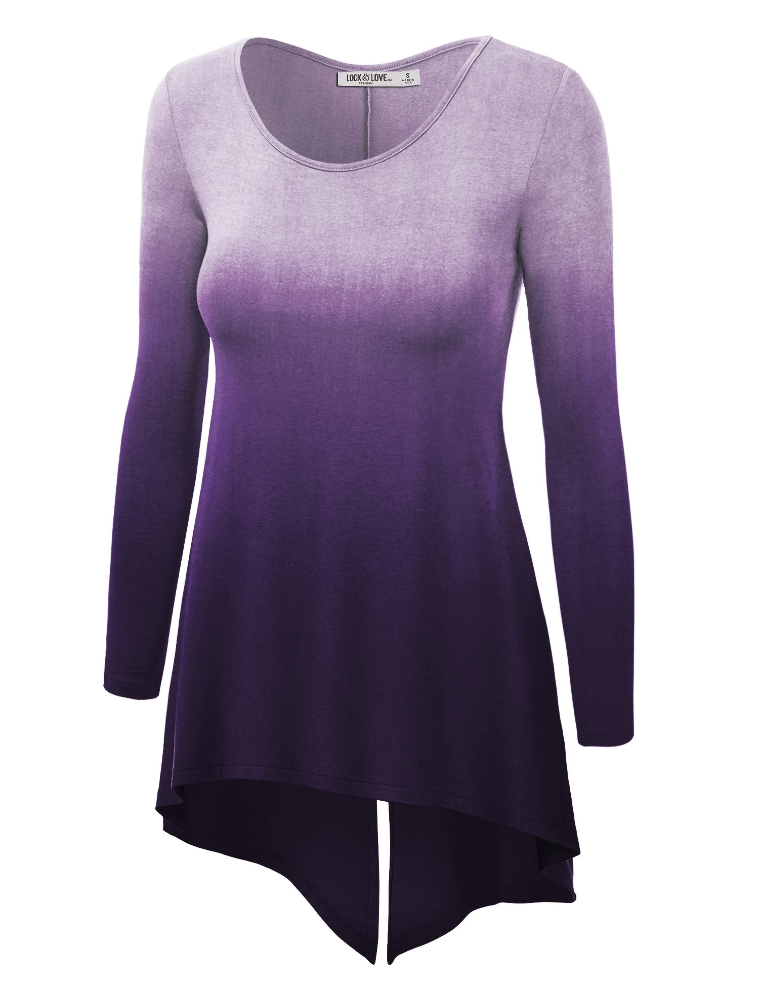WT1174 Womens Round Neck Long Sleeve Ombre Tunic with Back Slit XXXL Purple