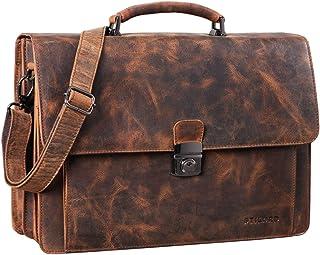 STILORD 'Angelo' Vintage Aktentasche Echtleder mit 15.6 Zoll Laptopfach Große Businesstasche mit Zweifachteilung Umhängetasche Arbeitstasche Rinds-Leder, Farbe:alfa - schwarz