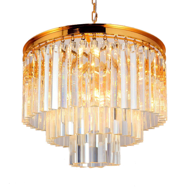 SUNWE Athrun 9 Light 3 Tier Clear Crystal Fringe Chandelier Light Fixture in Polished Brass Finish