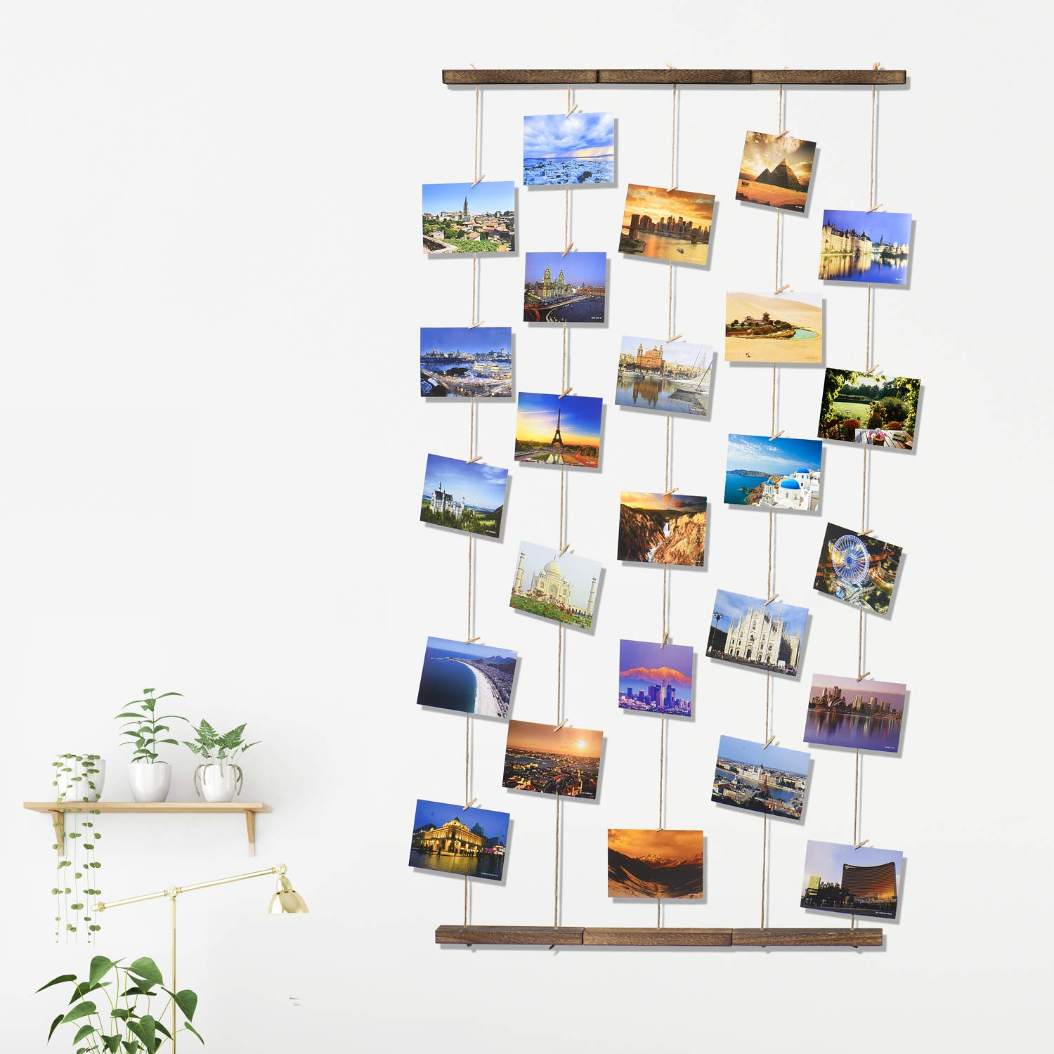 TWING Hanging Photo Display Picture Frames Collage with 30 Clips 26×29 inch - Collage Artworks Prints Multi Pictures Organizer & Hanging Display Frame for Wall Decor Hanging Photos by TWING