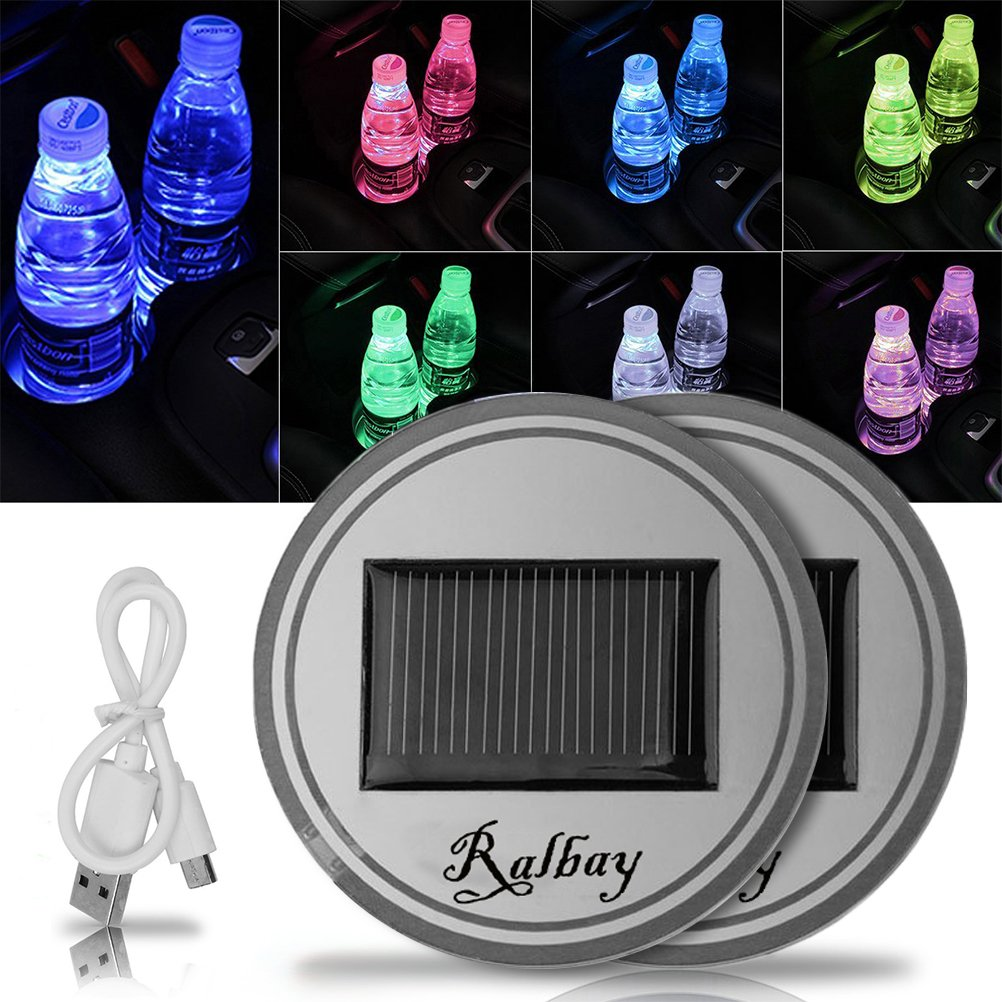 Ralbay LED Car Cup Holder Mat Pad?Color Changing 17 Modes Car Interior Decoration Atmosphere Lights USB Rechargeable Waterproof Drink Coaster with Remote Control (1PCS)