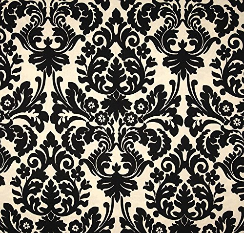 - Indoor / Outdoor Fabric by the Yard - Waverly Sun N Shade Essence Onyx - Black Ivory Damask