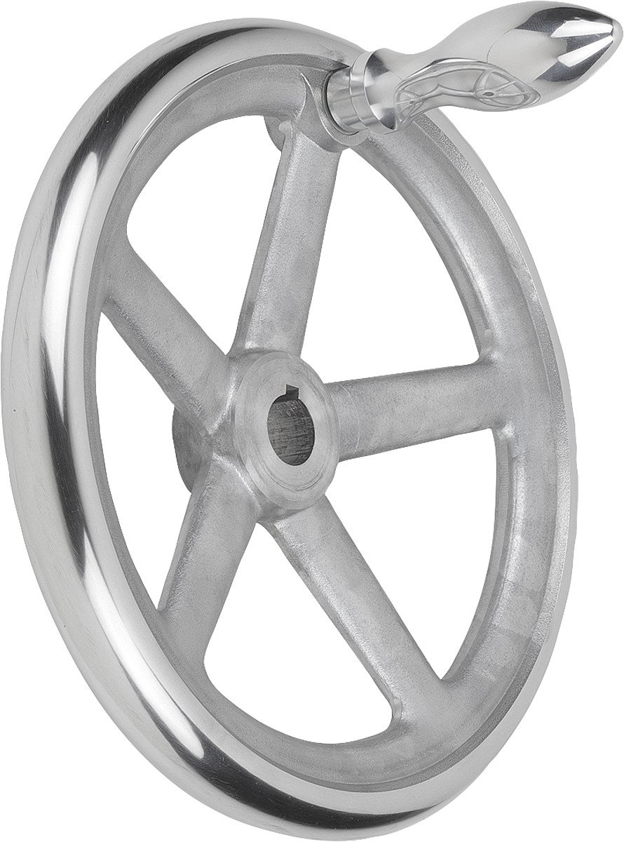 Tilt Handwheel with Nut Aluminium Complete: Aluminium, D2= 30, D1= 315, 1Piece, k0160.5315x30