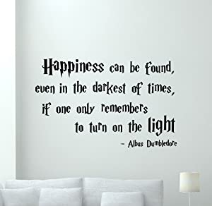 Harry Potter Quotes Wall Decal Happiness Can Be Found Albus Dumbledore Saying HP Movie Vinyl Sticker Cartoons Wizard Boy Kids Wall Art Design Bedroom Ideas Home Nursery Wall Decor Mural 89crt