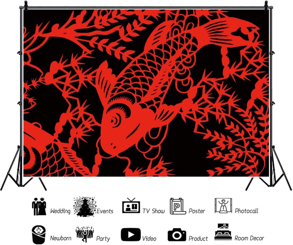 Leyiyi 12x10ft Chinese New Year Backdrop Red Carp Paper-Cut Photography Background New Year Photo Booth New Year Events Decor Props