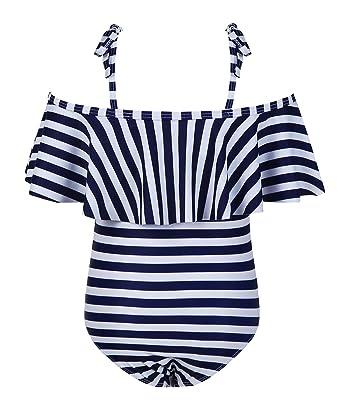4fe0e1fbfb889 Amazon.com  Misassy Girls Ruffle Off Shoulder One Piece Bathing Suits Cute  Lace Up Stripe Bikini Set  Clothing