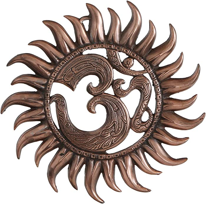 Buddha Groove Metal Om Sun Wall Hanging in Antique Copper Colored Finish with Om Pocket Charm | Ready to Mount for Indoor Placement | 11 Inches Diameter