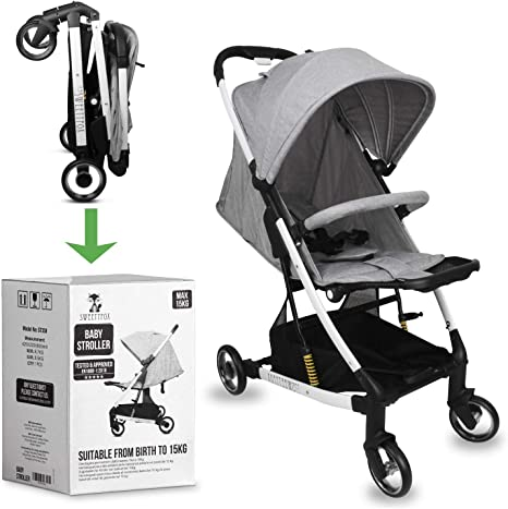Opinión sobre Carrito Bebe Compacto y Plegable -Fácil de Plegar, Desplegar y para Viaje - Comodidad y Ajustable para Bebé y Niño (Nacimiento a 15kg) - Manija, Barra de Protección y Arnés de 5 puntos