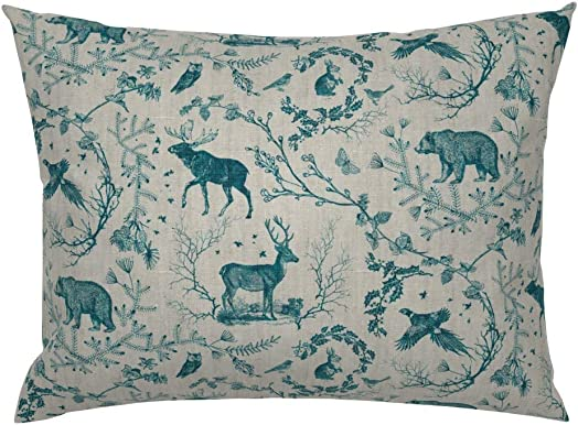 Roostery Pillow Sham, Woodland Rustic Wildlife Deer Bear Winter Toile Print, 100 Cotton Sateen 26in x 20in Knife-Edge Sham
