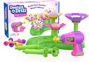 Educational Insights Design & Drill STEM Garden, Flower Building Drill Toy, 37 Piece Set, Perfect for Boys & Girls Ages 3+