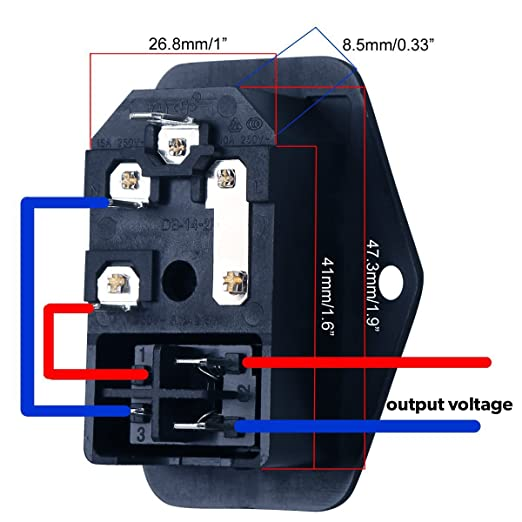 amazon com urbest inlet module plug 5a fuse switch male power rh amazon com c13 wiring diagram c13 wiring diagram