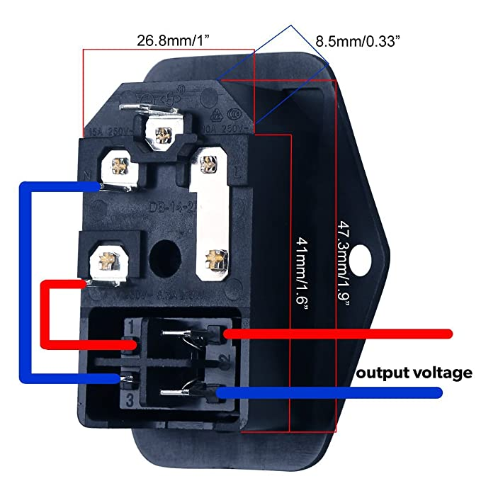 URBEST 10A 250V AC Rocker Switch 3 Pin IEC320 C14 Inlet Module Plug on