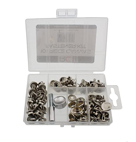 Redneck Convent Snap Fastener 101-Piece Set (Sockets, Caps, Eyelets, Studs)  Button Installation on Canvas, Marine, Heavy-Duty Fabric