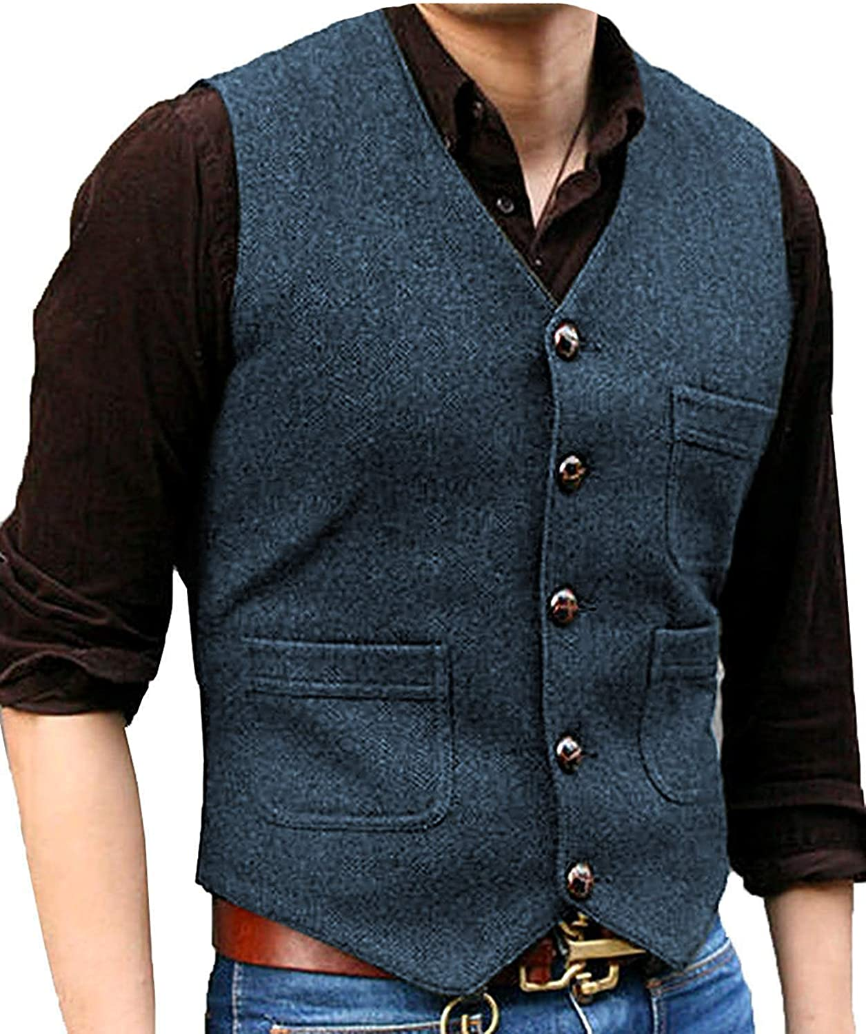 RONGKIM Men's V Neck 5 Buttons V Neck Wool Herringbone Plaid Slim Business Formal Suit Vest Waistcoat