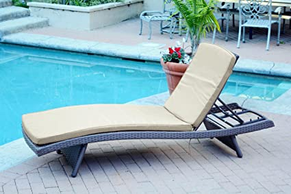 80u201d Adjustable Espresso Resin Wicker Outdoor Patio Chaise Lounge Chair    Tan Cushion