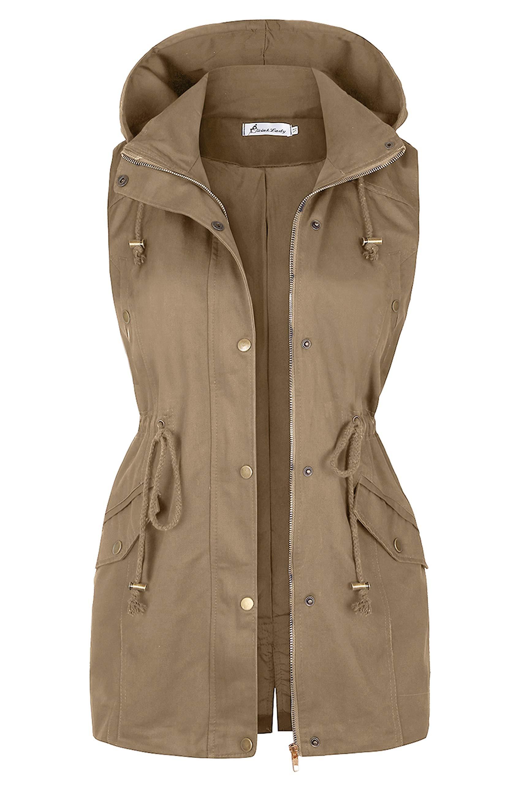 Twinklady Women's Sleeveless Lightweight Zip Up Military Safari Hood Anorak Jacket Vest A M Apricot by Twinklady