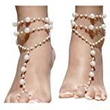 Amazon Price History for:2pcs Pearl Ankle Chain Bracelet Beach Wedding Foot Jewelry Barefoot Sandal Anklet Chain
