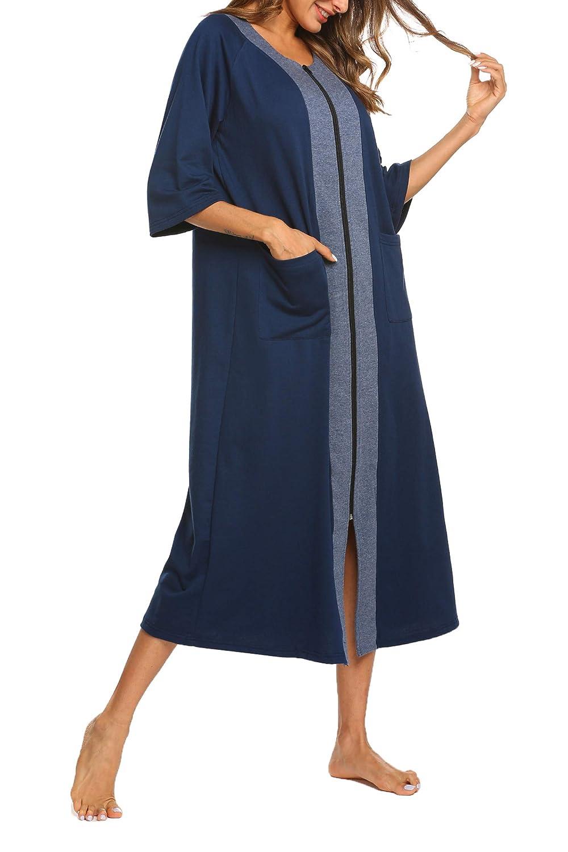 Ekouaer Housecoat Long Nightgown Striped Sleepwear Nightshirt with Pockets fro Women
