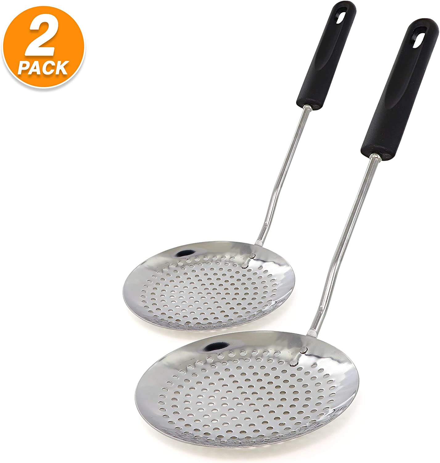 Ram Pro Stainless Steel Skimmer Kitchen Cooking Utensil Features Plastic Handle with Hole Ideal for Skimming Liquids (Pack Of 2)